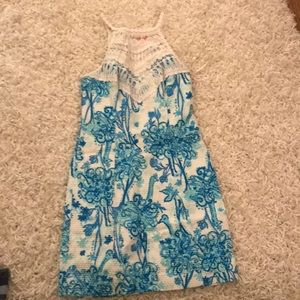 Lilly Pulitzer Blue Dress with white crochet